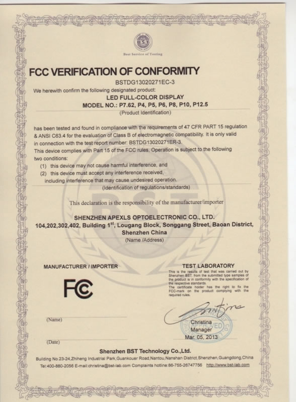 FCC for Full-Color LED Display