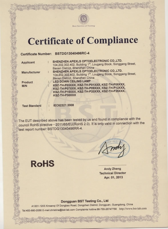 ROHS for Ceiling Lamp
